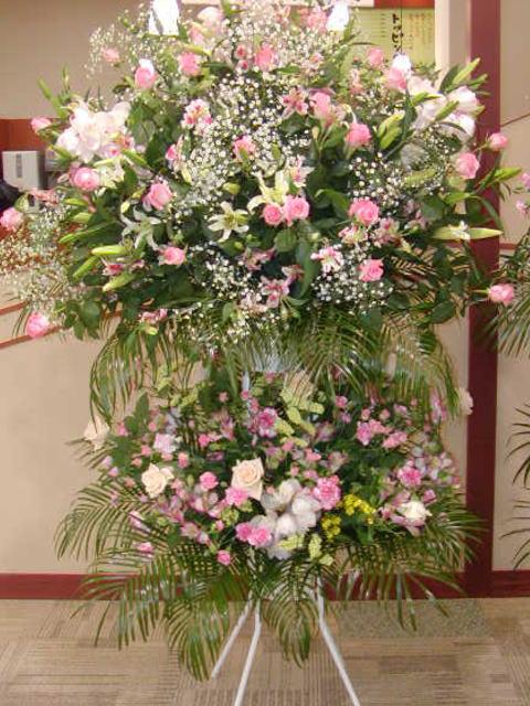 ホワイト&ピンク系~吹雪~ スタンド花2段