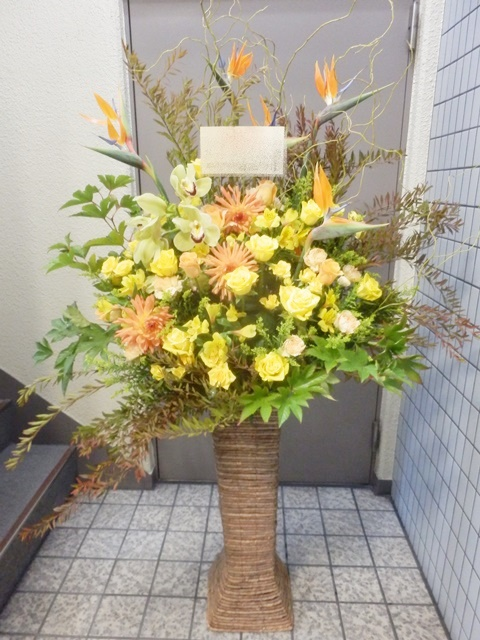 squareミディアムスタンド 黄色オレンジ系 17000円 スタンド高さ75cm 色合い変更出来ます!