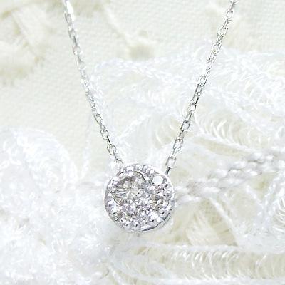-Fortunate Diamond-お月様が見守る、ダイヤモンドネックレス。計0.07カラットダイヤモンドを使用したシンプルデザイン。K10ホワイトゴールドネックレス【4月の誕生石】シンプル 誕生日 プレゼント【11時のTeatime 母の日 ジュエリーショップ】