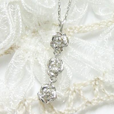 -Fortunate Diamond-計0.15カラットのダイヤモンド。胸元に咲くローズと、朝露のようなダイヤがスリーストーンで輝く。K10ホワイトゴールドネックレス【4月の誕生石】シンプル 誕生日 プレゼント【11時のTeatime 母の日 ジュエリーショップ】