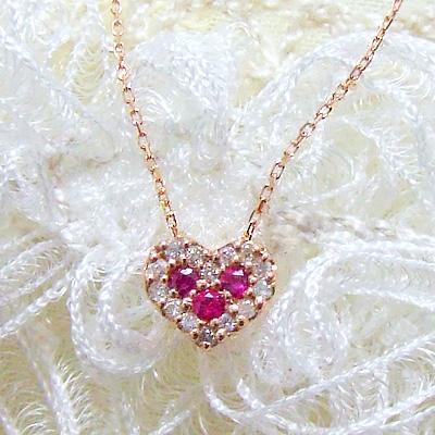 ネックレス レディース 上品スイート!甘いルビーをダイヤモンドで取り囲んで。スイートハートネックレスK10ピンクゴールド4.7月の誕生石 誕生日 プレゼント【11時のTeatime おしゃれ シンプル お呼ばれ ペンダント 母の日 ジュエリーショップ】