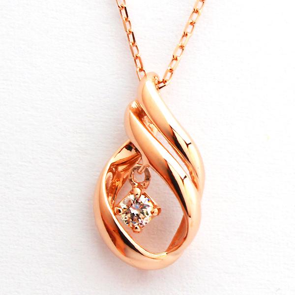 ネックレス 10k レディース K10ピンクゴールド ダイヤモンド 0.06ct 10K 10金 PG ジュエリー アクセサリー 彼女 女性 ギフト 大人 可愛い 金属アレルギー 天然石 ヒネリデザインがきれいなダイヤモンドが揺れるネックレス