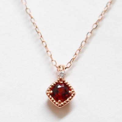 【ラッピング・ギフト対応】誕生石をお守りに。1月のストーン ガーネットをダイヤモンドが見守る、シンプルネックレス K10ピンクゴールド ジュエリー アクセサリー 彼女 女性 大人 可愛い おしゃれ10K 10金 PG ミル打ち 一粒