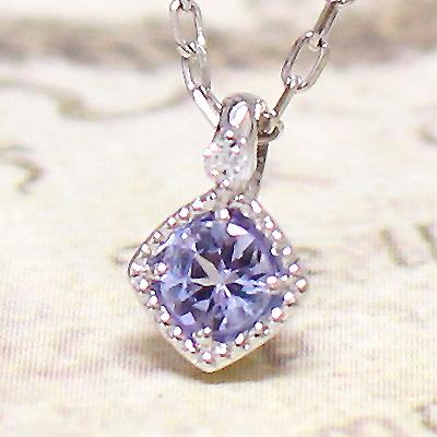 【ラッピング・ギフト対応】誕生石をお守りに。12月のストーン タンザナイトをダイヤモンドが見守る、シンプルネックレスK10ホワイトゴールド 送料無料 ジュエリー アクセサリー レディース 彼女 女性 大人 可愛い 10k 10金 WG