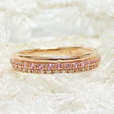 『-Jewel Party-ジュエルパーティー』ピンクサファイアが贅沢に並んだ、石たちのパーティー。K10ピンクゴールド指輪ダイヤモンドシンプル.誕生日.プレゼント【11時のTeatime おしゃれ 大人 可愛い かわいい レディース お呼ばれ ジュエリーショップ】