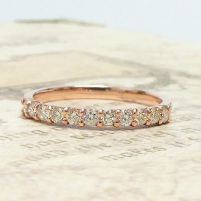 プラスで楽しむ『Herb-ハーブ-』ダイヤモンドハーフエタニティシリーズ 着けたらもっと幸せ。「ワイルドストロベリー」K10ピンクゴールド 指輪 0.30ct 重ねづけ 4月の誕生石 シンプル 記念日 10k 10金 リング