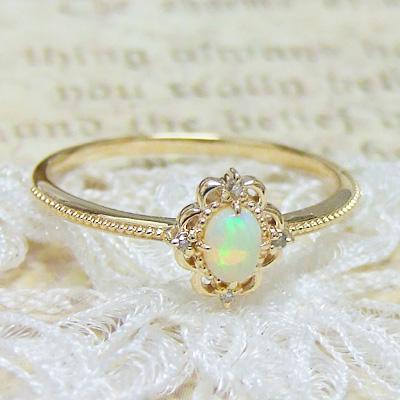 オパール 指輪 リング レディース『classico』初めて見るような、どこか懐かしいような。オパールをクラシカルなレースフレームで。ダイヤモンドを散りばめた指輪。K10イエローゴールド【10月の誕生石】誕生日 プレゼント