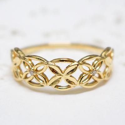 レディース 指輪 リング K10イエローゴールド「lumtere-リュミエール」レースのような透かし模様にダイヤモンドを添えて。シンプル 誕生日 プレゼント ギフト 10K 10金 YG 10k 地金 天然石【11時のTeatime おしゃれ 大人っぽい お呼ばれ ジュエリーショップ】