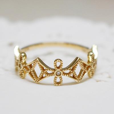 レディース 指輪 リング K10イエローゴールド「lumtere-リュミエール」光のきらめきとダイヤモンドが指を取り巻く。シンプル 誕生日 プレゼント ギフト 10k 10金 YG 地金 天然石【11時のTeatime おしゃれ 大人かわいい 大人っぽい お呼ばれ ジュエリーショップ】