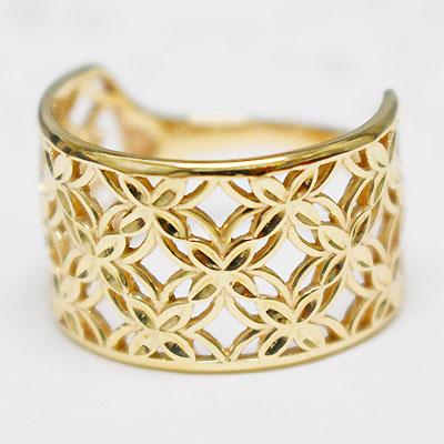レディース 指輪 リング K10イエローゴールド「lumtere-リュミエール」ボリューム感たっぷりの透かし模様が美しい、幅広指輪。シンプル 誕生日 プレゼント ギフト 10K 10金 YG 10k 地金【11時のTeatime おしゃれ 大人っぽい お呼ばれ ジュエリーショップ】