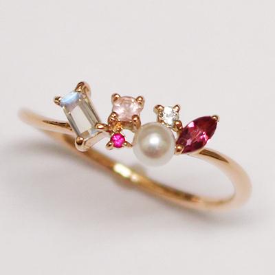 「coffret a bijoux-コフレ・ア・ビジュ-」 様々なストーン、カット…宝石箱をのぞき込んだようなジュエリー。 ピンクトルマリン、ルビー、ローズクオーツ K10ピンクゴールド 指輪 10K 10金 PG 6月 7月 10月の誕生石 リング