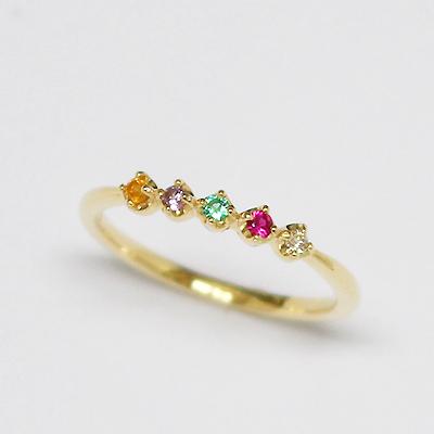 5つの天然石がそっと見守る、アミュレット 夢を叶えるお守りのピンキーリング ダイヤモンド ルビー エメラルド アメシスト スペサルティンガーネット K10イエローゴールド 指輪 リング K18オーダー可 10金 10K YG【11時のTeatime 18金 ジュエリーショップ】