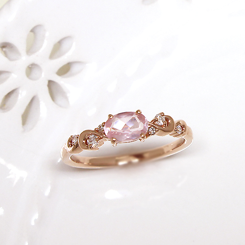 指輪 レディース ローズクオーツ K10ピンクゴールド 『Fleurs Jouer-フルール・ジュエ-』誕生日 プレゼント ギフト 10k 10金 PG送料無料 ジュエリー アクセサリー 彼女 女性 誕生日 大人 可愛い 金属アレルギー サイズ