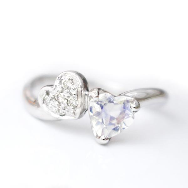 指輪 ピンキーリング ブルームーンストーン ダイヤモンド K10ホワイトゴールド ダブルハートデザイン 10k 10金 WG レディース 送料無料 アクセサリー ジュエリー 彼女 女性 大人 可愛い 天然石 金属アレルギー 安心 ラブラドライト