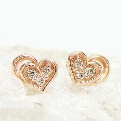 ハートモチーフ 10K 10金 PG ~ジュエリー 11時のティータイム 日本全国 送料無料 大切な人へのギフトや 結婚記念日のプレゼントにも~ -Love Heart-ダブルハートにダイヤモンドを敷き詰めて 0.02カラットのダイヤモンド.K10ピンクゴールドピアス 4月の誕生石 11時のTeatime 誕生日 プレゼント ホワイトデー 大人っぽい 2020A/W新作送料無料 シンプル お呼ばれ おしゃれ レディース お返し