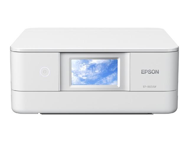 Colorio 多機能モデル EP-882AW(ホワイトモデル/A4/有線・無線LAN/Wi-Fi Direct/4.3型ワイドタッチパネル/自動両面印刷/レーベルプリント/6色染料) EP-882AW