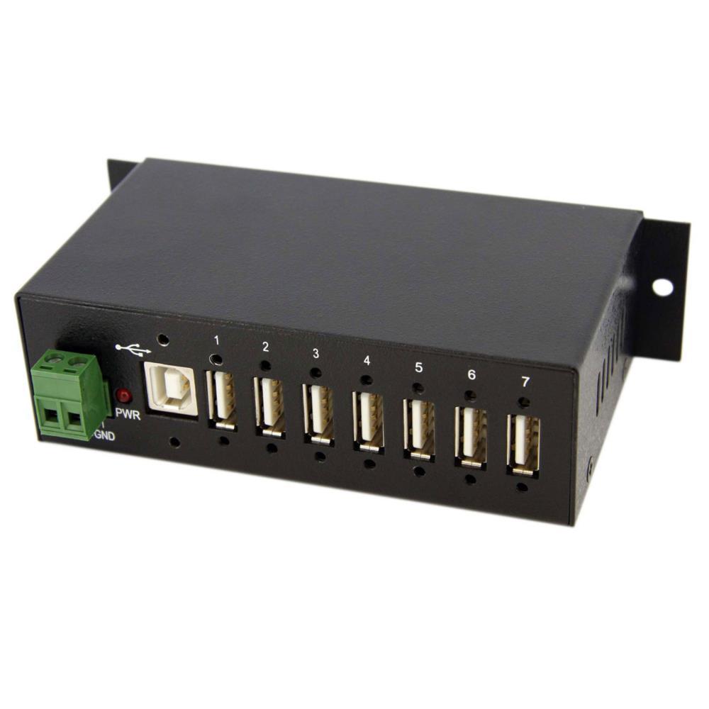 ウォールマウント型産業用7ポートUSB 2.0 ハブ メタルシャーシ構造 ターミナルブロックから外部電源を供給可能 350W サージ保護機能付き ST7200USBM