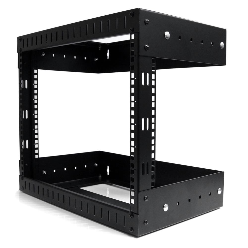 サーバーラック(8U/EIA規格) 壁掛けタイプ 奥行き調整可能 2ポストオープンフレーム 耐荷重61kg RK812WALLOA