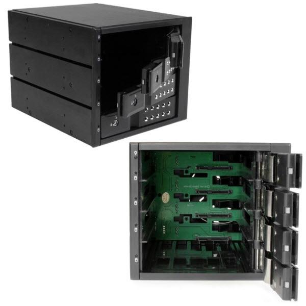 HSB4SATSASBA 4x 3.5インチ SAS 2.0/SATA 3.0ハードディスクドライブ対応モバイルラック インナートレイ不要 ホットスワップ対応 3x 5インチベイ搭載HDDリムーバ
