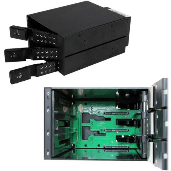 HSB3SATSASBA 3x 3.5インチ SAS 2.0/SATA 3.0ハードディスクドライブ対応モバイルラック インナートレイ不要 ホットスワップ対応 2x 5インチベイ搭載HDDリムーバ
