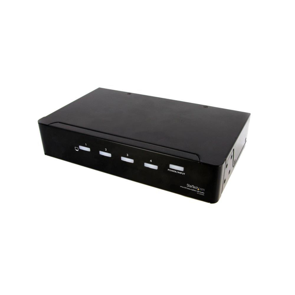 4出力対応DVIディスプレイスプリッター オーディオ対応 ビデオ・モニタ分配器 1920 x 1200 (60Hz) 対応 最大10m ST124DVIA