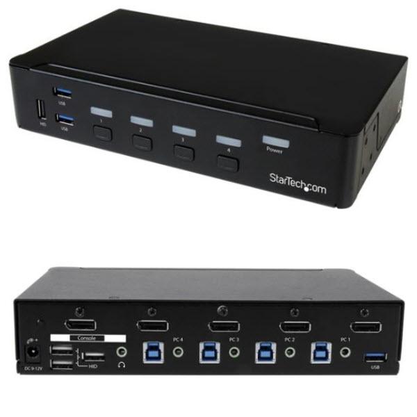 4ポートDisplayPort KVMスイッチ(4K対応) ディスプレイポート接続CPU・PCパソコン切替器 3ポートUSB 3.0ハブ SV431DPU3A2