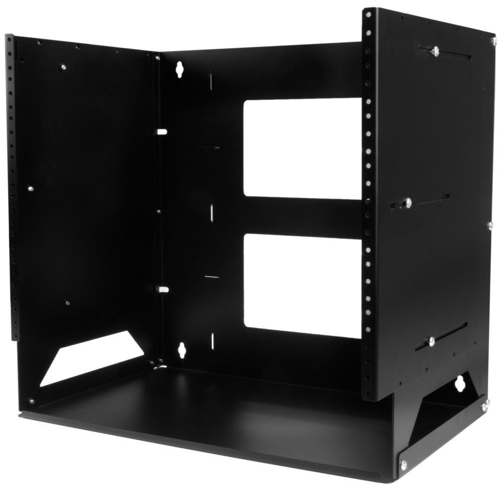壁掛け型ウォールラック 棚板付属 スチール製 8U ウォールマウント型サーバーラック 奥行き調整可能(30cm - 46cm) WALLSHELF8U