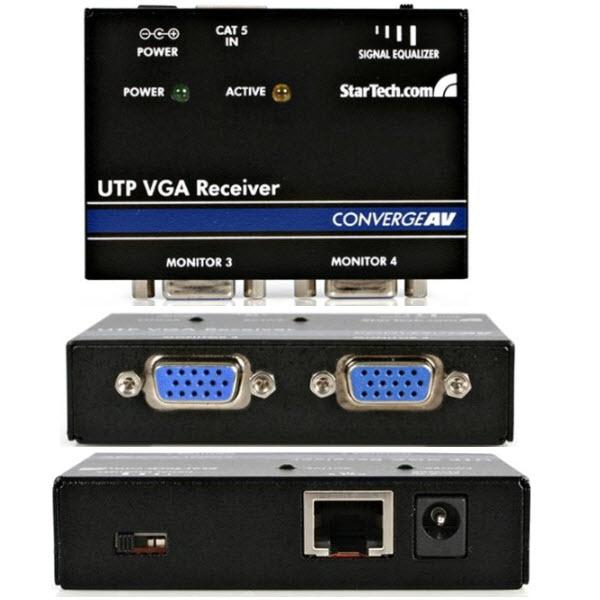 VGAディスプレイエクステンダー用受信機 Cat5ケーブル以上を使用 VGAビデオ延長器用リモートレシーバ 送信機(ST1214TまたはST1218T)とセットで使用 ST121R