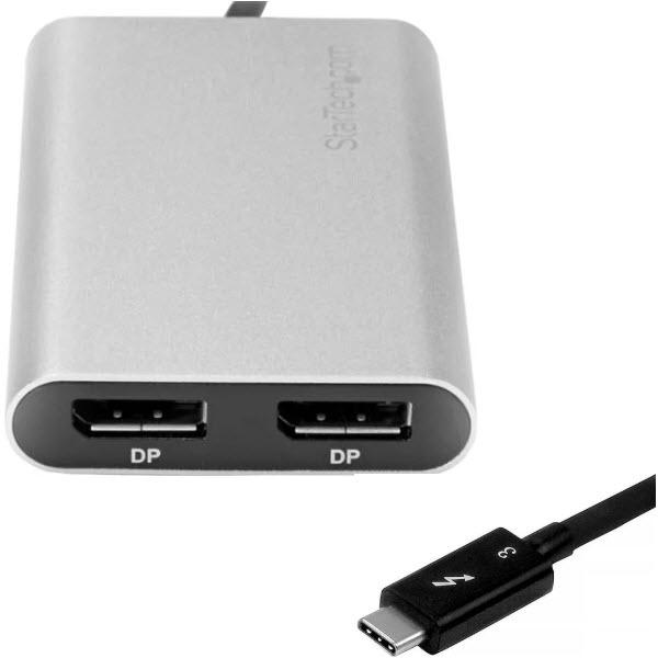 Thunderbolt 3 - 2ポートDisplayPort変換アダプタ 4K/60Hz Mac と Windows に対応 USB Type-C(オス) - 2x DP/ディスプレイポート(メス) TB32DP2T