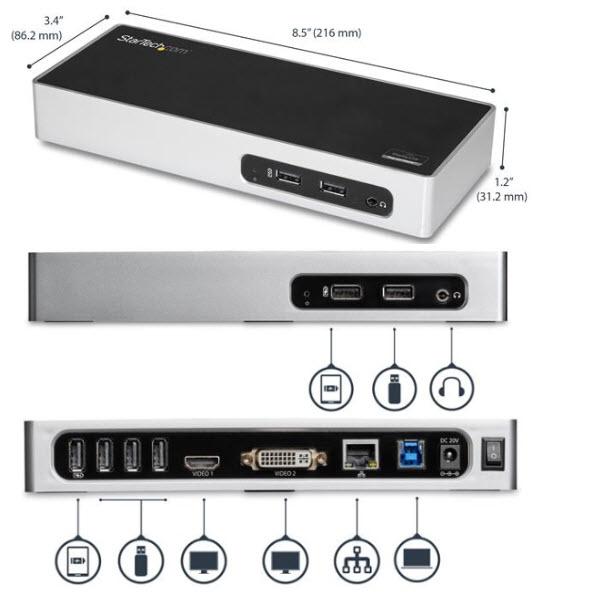 USB 3.0接続ノートPCパソコン用ドッキングステーション デュアルモニタ対応(USB - HDMI/ USB - DVI/VGA) USB 3.0 ドック ポートリプリケータ DK30ADD
