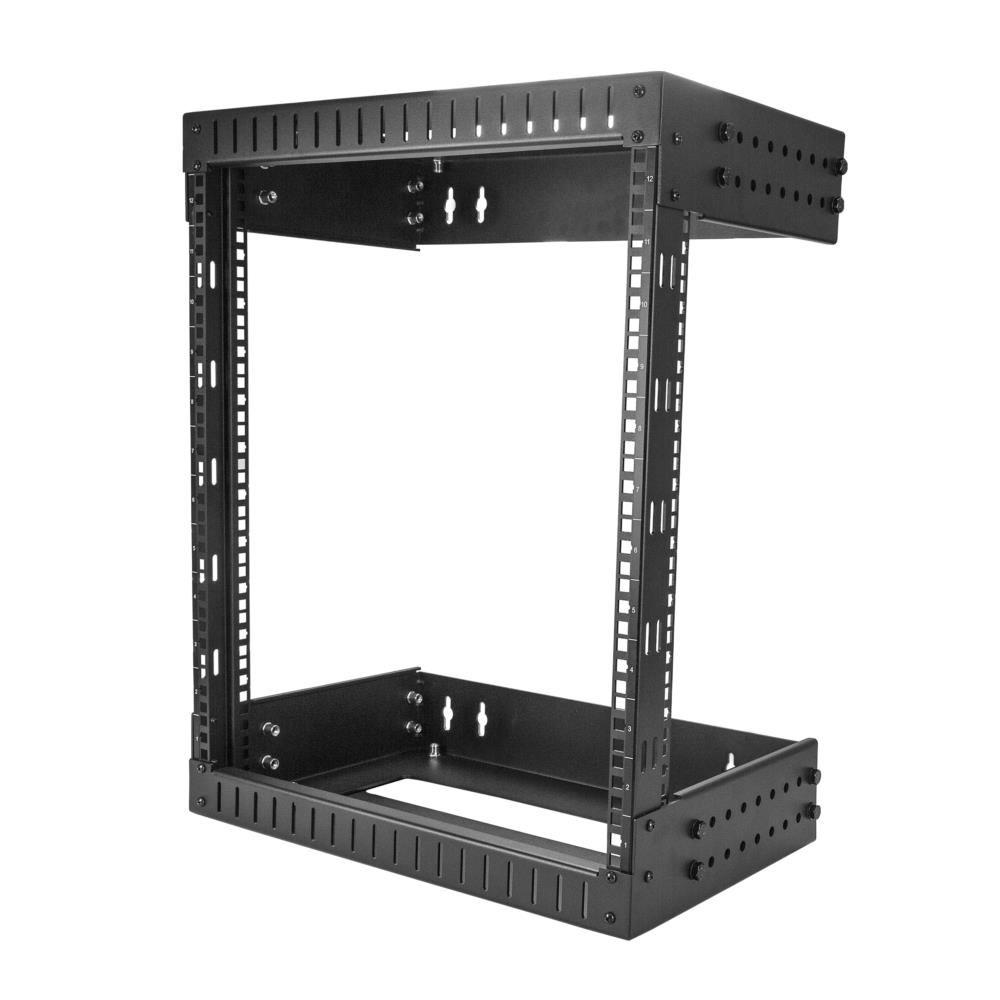 12U ウォールマウント19インチサーバーラック 2ポストオープンフレーム/壁掛け式 奥行き調整可能(12-20インチ) RK12WALLOA