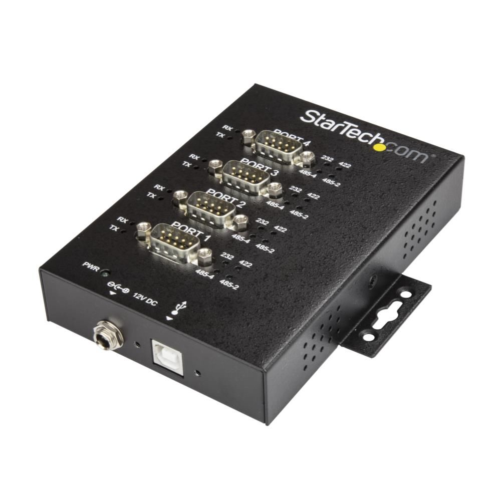 USB - 4ポート シリアル変換アダプタ RS232/ RS422/ RS485に対応 15kV ESD保護機能 IP30準拠メタルケース DINレール/ウォールマウント対応 ICUSB234854I