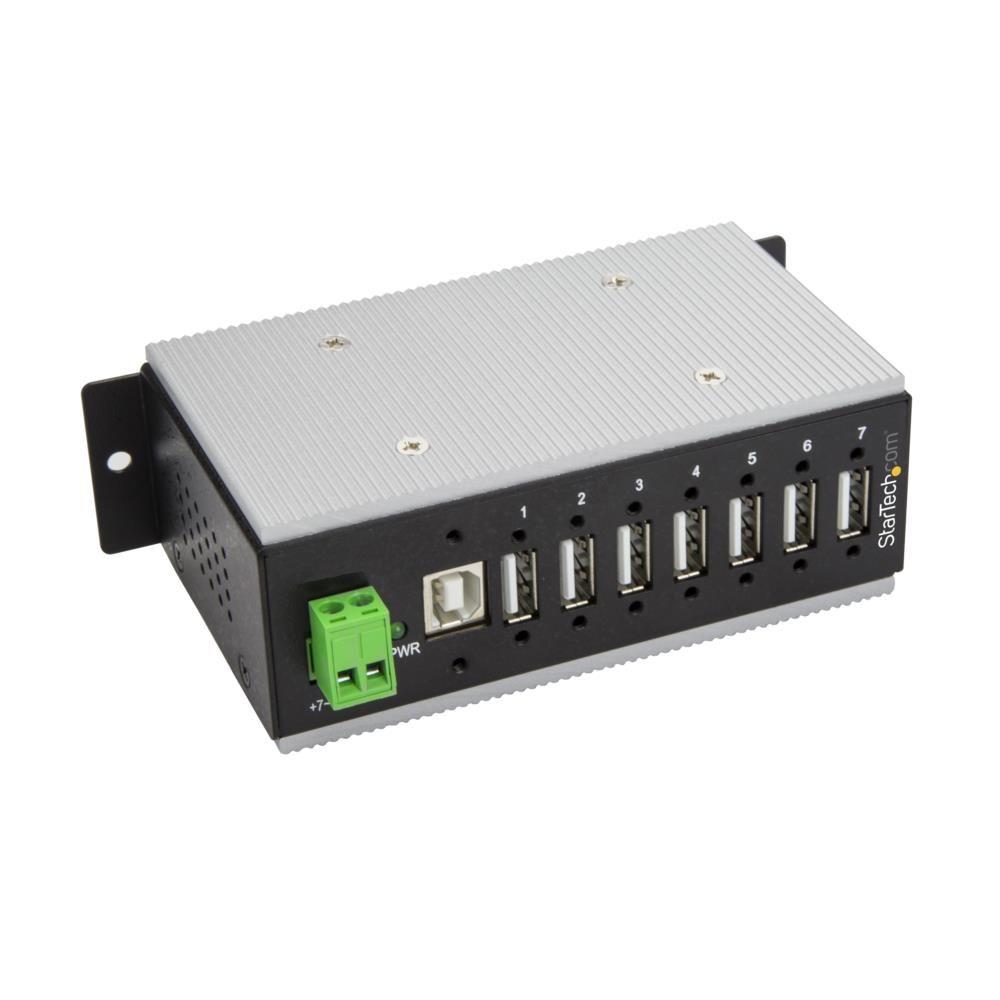 7ポート産業用USB 2.0ハブ ESD保護/350Wサージ保護 ウォールマウント対応 HB20A7AME