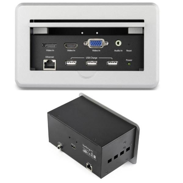 会議用テーブルAVコネクティビティBOX 埋め込み型 充電用USBポート HDMI/ VGA/ DisplayPort入力 - HDMI出力 4K BOX4HDECP2