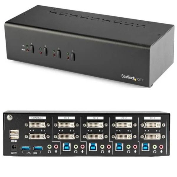 4ポートDVI KVMスイッチ デュアルモニター 2ポートUSB 3.0 CPUパソコン切替器 SV431DD2DU3A