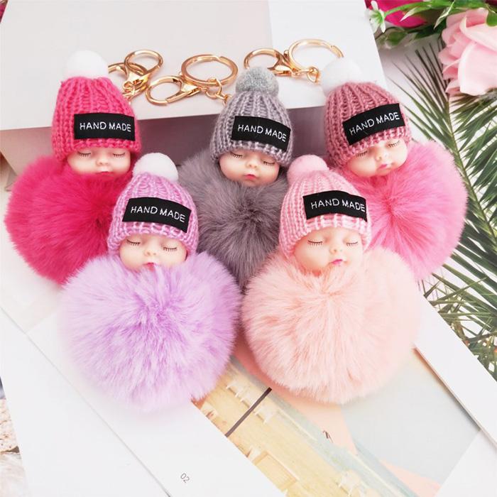 ストラップ 日本未発売 カギ 鍵 キーホルダー 寝てる赤ちゃん 寝顔 癒し 可愛い 飾り プレゼント ふわふわ ギフト お祝い 選べる10色 注目 超安い 人形