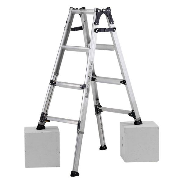 【メーカー直送】 ステップ幅広伸縮脚付はしご兼用脚立120cm PRW120FX アルインコ