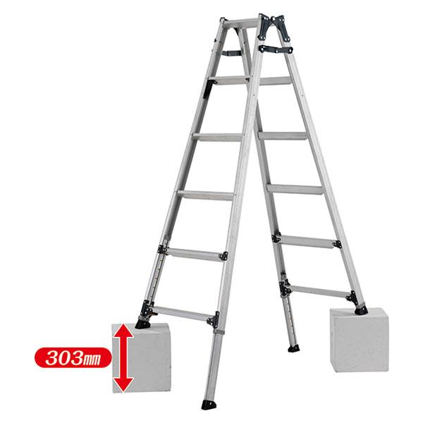 【メーカー直送】 ステップ幅広伸縮脚付はしご兼用脚立180cm PRW180FX アルインコ