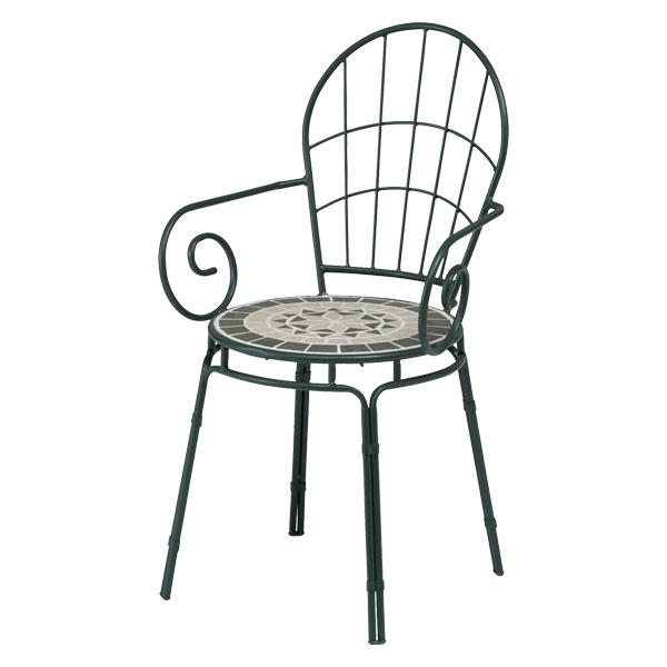【メーカー直送】 タンジール モザイクチェアー マットグリーン 2脚セット タカショー ガーデンチェア チェア ガーデンファニチャー 庭 椅子 エクステリア 屋外