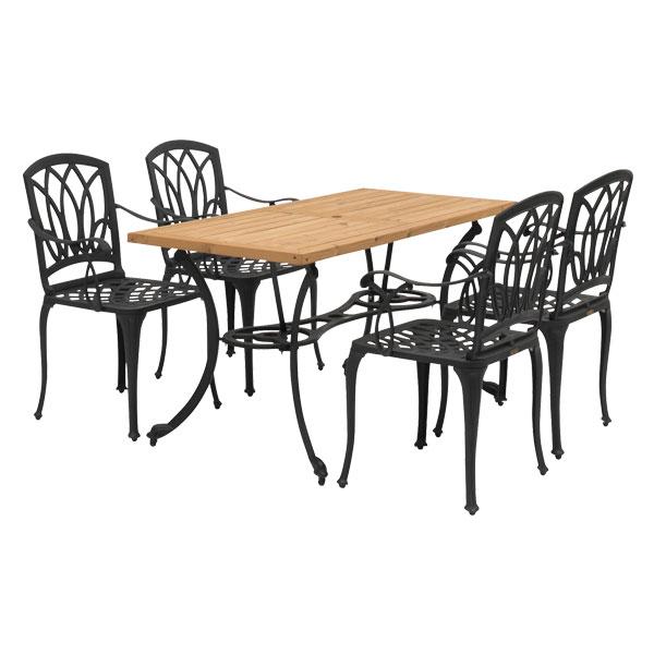 【メーカー直送】 アル・カウン ウッドダイニングテーブル 5点セット タカショー ガーデンファニチャー 庭 エクステリア 屋外