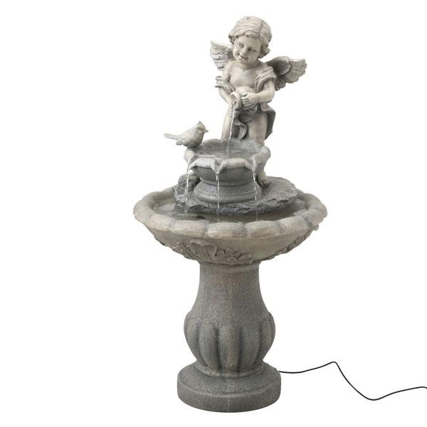 ソーラーファウンテン 天使と小鳥 タカショー ガーデン 庭 屋外 水 噴水
