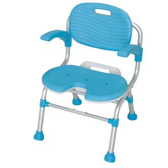【送料無料】 U型シャワーチェアーSCU01 SCU01・幅50.5×奥行49.0~56.0×高さ70.5~80.5cm 5ポジション・ブルー
