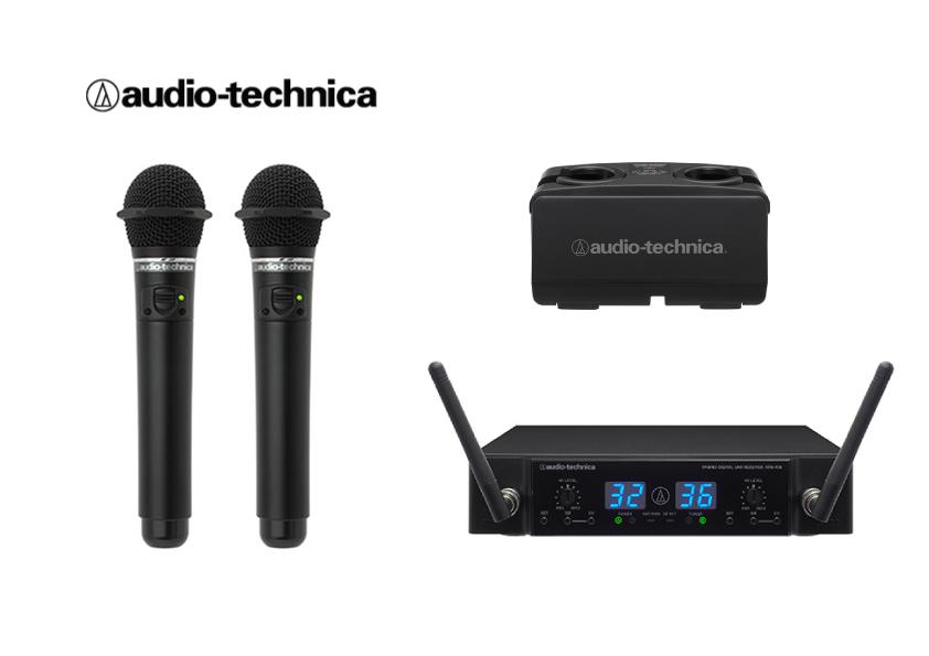 カラオケマイク【新品】【送料無料】【メーカー保証】オーディオテクニカ電波式ワイヤレスマイク(黒)4点セットATW-T63 2本,ATW-R76 1台,BC701 1台