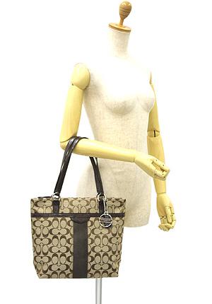 教练袋出口教练 F28504 SKHMA 签名条纹 12 厘米大手提包手提包银 / 卡其色和桃花心木