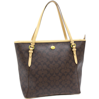 Coach bags outlet COACH F28365 B4AQW Peyton signature zip-top tote bag brass / Brown / Tan