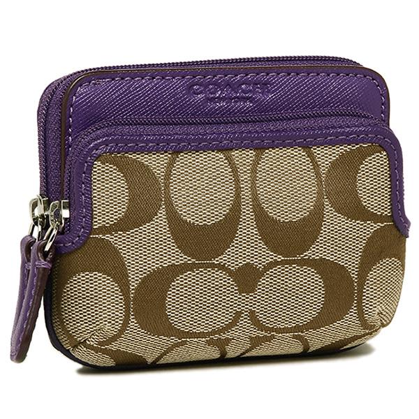 coach coin purse outlet 6o5o  Coach coin purse outlet COACH F62545 SKHVI Park signature double zip ID  case with pennies into