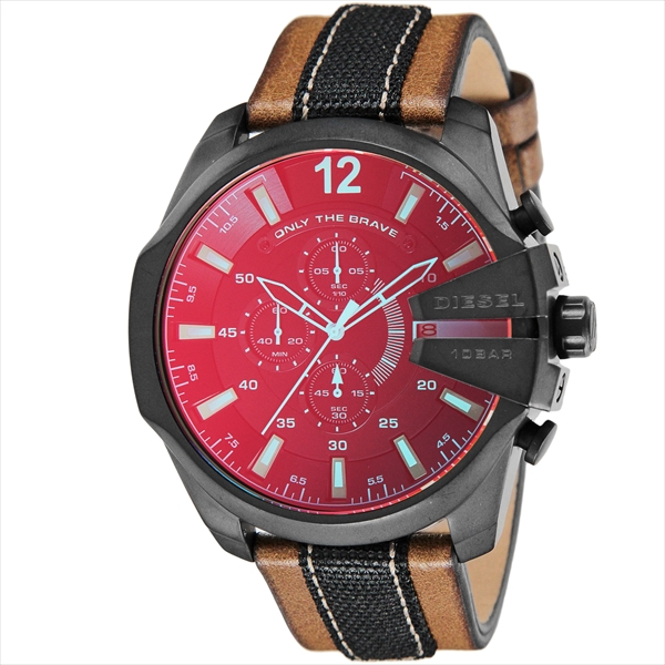 Diesel watches mens DIESEL DZ4305 MEGA CHIEF megachurch 10 ATM water resistant watch watch brown / black / red