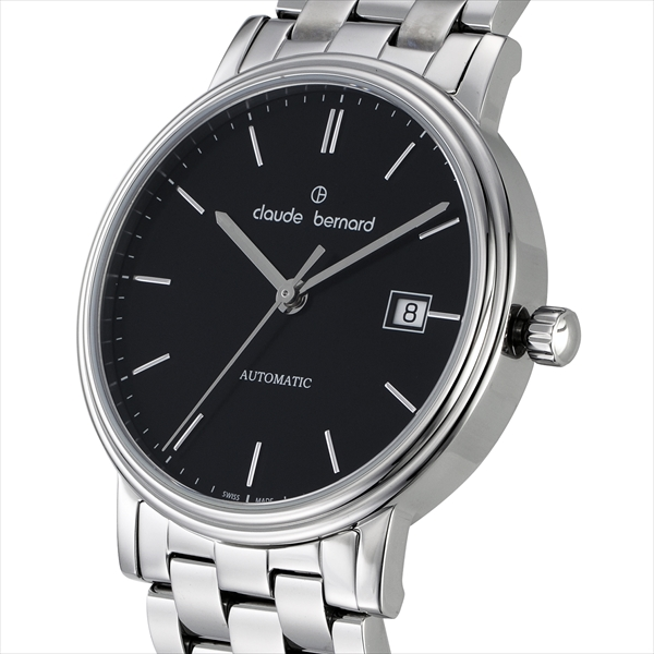 Claude Bernard watches mens Claude Bernard 800853NIN 3HANDSAUTO watches watch silver / black