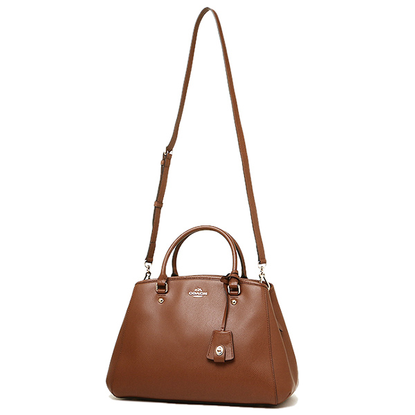 Coach bags outlet COACH F34607 IMSAD cross-grain leather small Margot carryall bag saddle