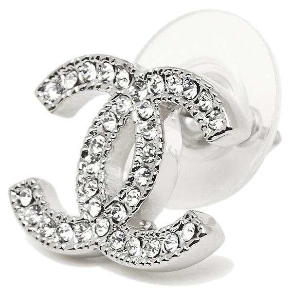 Chanel earrings CHANEL A42175 Y02003 CC mark Silver / clear